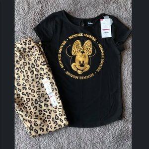 Disney Minnie Mouse top/ leopard jeggings set